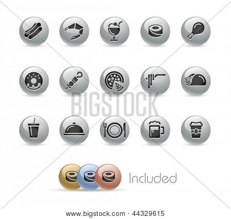 Food Icons - Set 2 of 2 // Metal Round Series --- It includes 4 color versions for each icon in different layers---