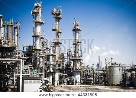 Chemical plant in the blue sky