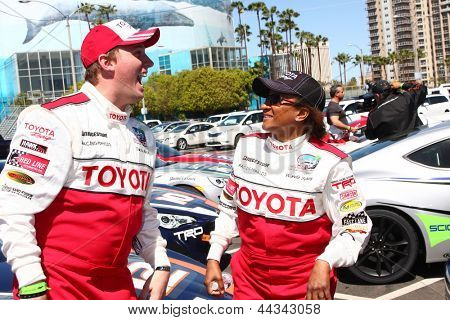 LOS ANGELES - APR 9:  Dakota Meyer, Wanda Sykes at the Toyota ProCeleb Race Press Day 2013 at the Toyoto Grand Prix Circuit on April 9, 2013 in Long Beach, CA
