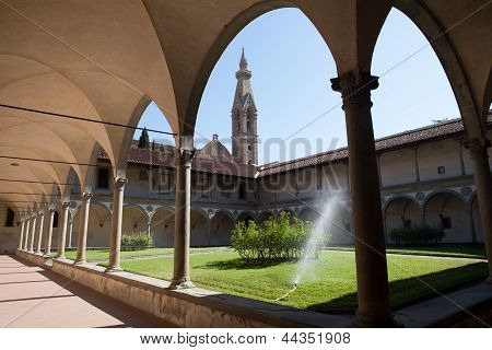 Internal courtyard of basilica Santa Croce in Florence Italia