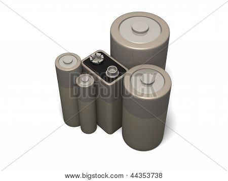 3d render of group of unbranded common battery sizes poster
