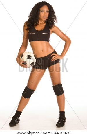 Sexy Soccer Player Sporty Female With Ball