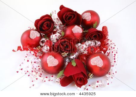 Red Satin Balls, With Roses And Ribbon.