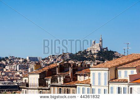 View of Marseille with Notre-Dame de la Garde basilica, southern France