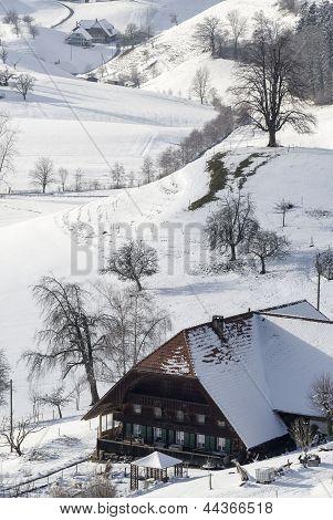 Farm House In Winter