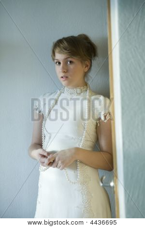Portrait Of Young Attractive Girl With Glassbeads