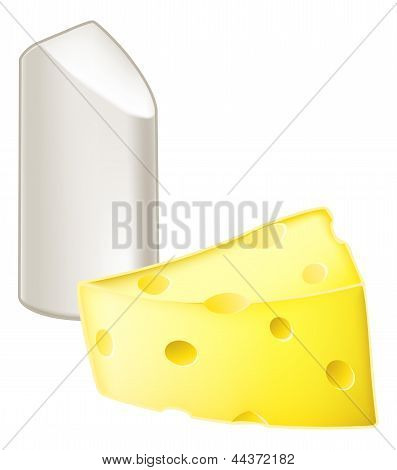Illustration of stick of chalk and piece of cheese from the metaphor chalk and cheese meaning very different dissimilar or opposite. poster