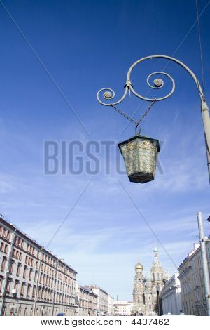 Lamppost With Cathedral Background