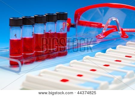 Array Of Blood Samples For Microscopy And Biopsy Tissue