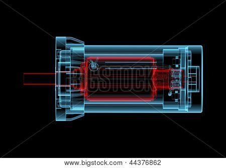 Ac Electric Motor (3D Xray Red And Blue Transparent)