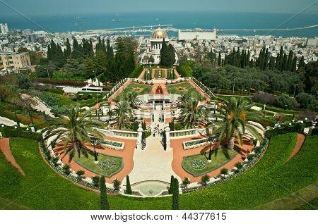 Panorama of Bahai Gardens in Haifa Israel