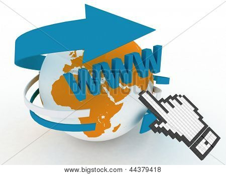 3d illustration of internet world wide web concept. Hand cursor and earth globe
