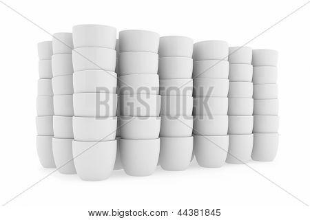 White Ceramics Flowerpot Set, Rendered Models