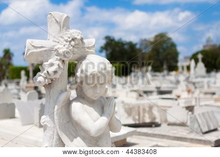 Infant angel praying and christian cross with a diffused cemetery background