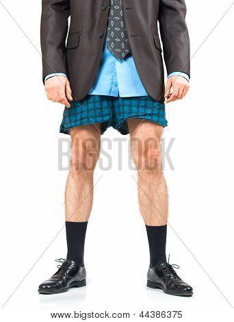 Businessman In His Underwear