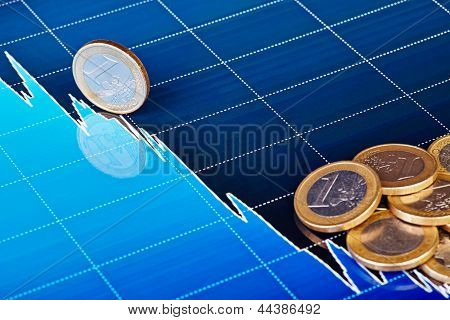 One-euro Coins On Downtrend Chart. Selective Focus