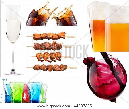Different Meat Dishes And Alcohol Drinks