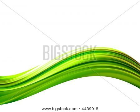 Green waves on white background. Abstract illustration poster