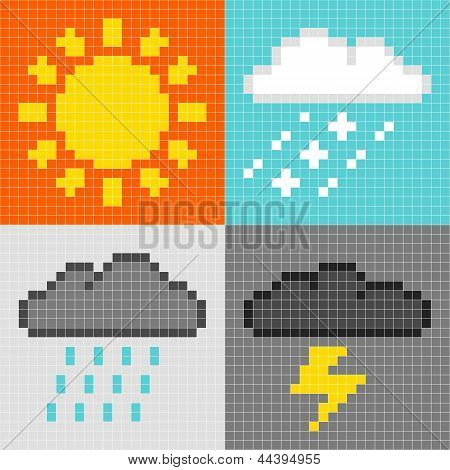 8-bit Pixel Weather Symbols: Sun, Rain, Snow, Thunder
