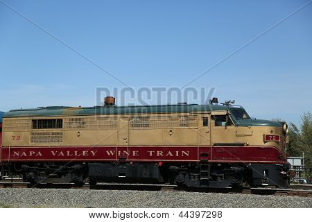 Wine train in Napa. It is an excursion train that runs between Napa and St. Helena, California.