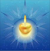 Christmas candle in the form of the gold apple framed with a freakish pattern in the form of a snowflake against the star sky poster