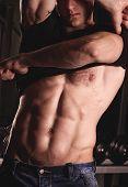 Sexy sport male fitness model. Fashion portrait poster