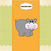 new baby invitation with hippopotamus, illustration in vector format poster
