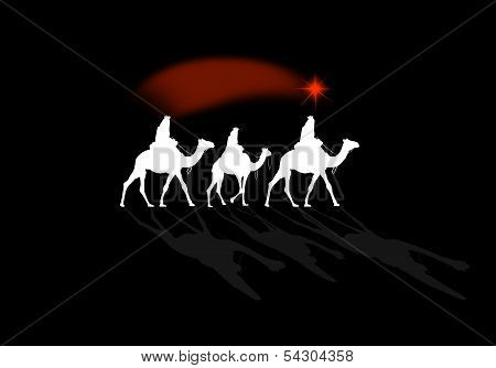 an illustration of a Nativity scene with Magi kings poster