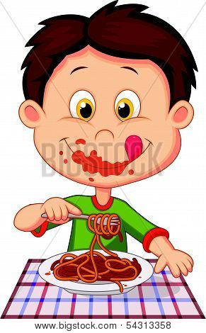 Cartoon boy eating spaghetti