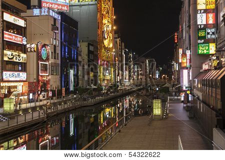 The Nightview Of Dotombori From Enisu-bashi Bridge  In Osaka, Japan.