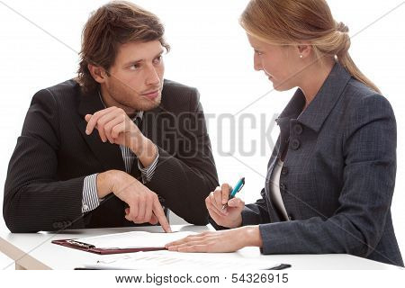 Businessman persuading his financial partner to signing a contract poster