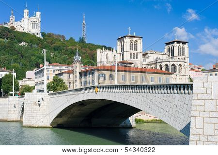 Lyon And Saone River In A Summer Day