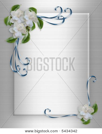 Image and illustration composition white gardenias Corner design element for Valentine or wedding invitation background borde frame with copy space. poster