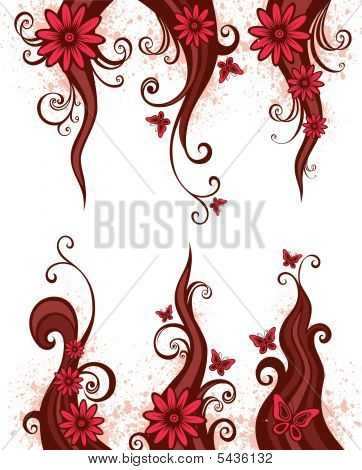 Pink Design Elements With Flowers
