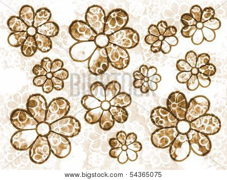 Brown Faded Flower Grunge Pattern