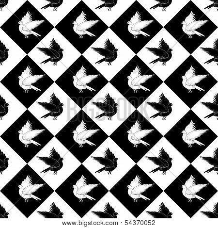 Design seamless monochrome diamond pattern with a silhouette of bird. Vector art poster