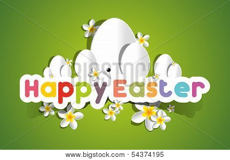Happy Easter Card With Eggs And Spring Flowers