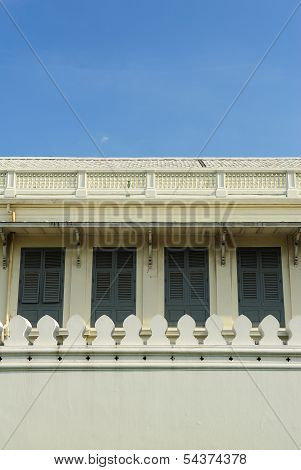 Abstract Thailand Wall And Windows In Blue Sky