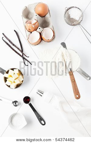 Assorted Baking Ingredients And Tools