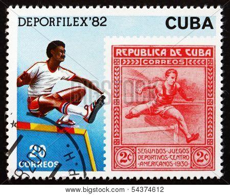 Postage Stamp Cuba 1982 Hurdler, Athlete