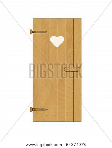 Wooden Door Of The Latrine With Heart On White Background