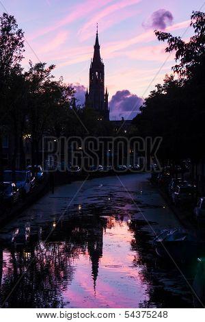 Nieuwe Kerk In Delft, Netherlands In The Afterglow