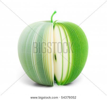 Paper Stick Note Green Apple Isolated