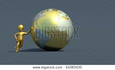 character with golden globe