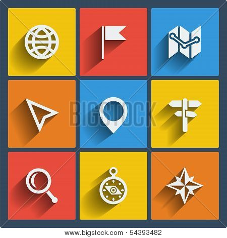 Set of 9 vector geo web and mobile icons