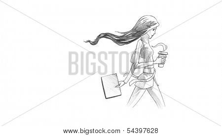 Hand-drawn Sketch, Pencil Illustration, Drawing of Young Woman With Her Coffee To Go | High Resolution Scan, Decent Copy Space