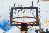 photo of a damaged basketball hoop background poster