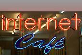 neon sign of internet cafe with free space for your name poster