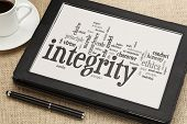 cloud of words or tags related to integrity and ethical values on a  digital tablet poster