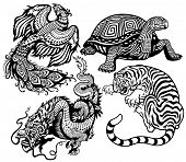 dragon,tiger, phoenix and turtle.Black and white set of four feng shui celestial animals poster